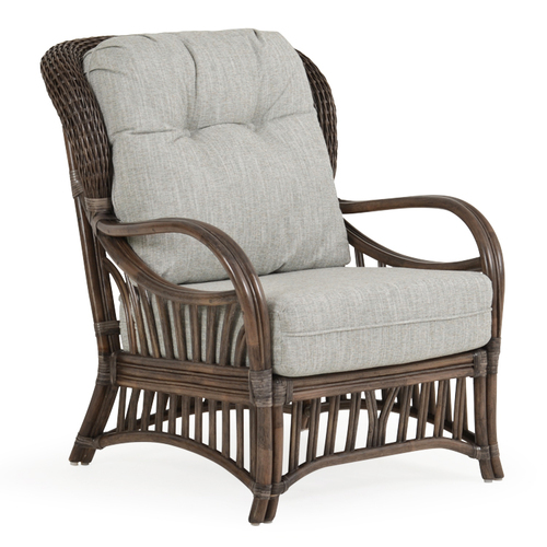 Islamorada Indoor Rattan High Back Chair with Cushions (Espresso Finish)