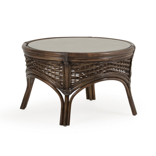 Islamorada Indoor Round Rattan Cocktail Table (Espresso Finish)
