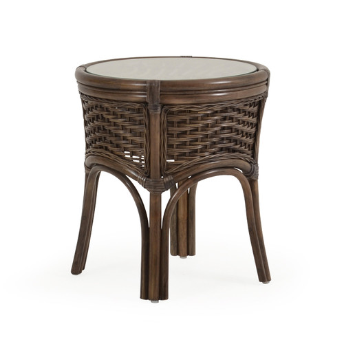 Islamorada Indoor Rattan Round End Table (Espresso Finish)