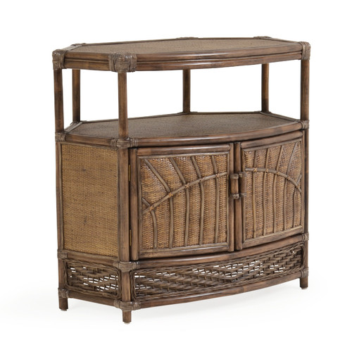 Islamorada Indoor Rattan Corner TV Stand (Espresso Finish)