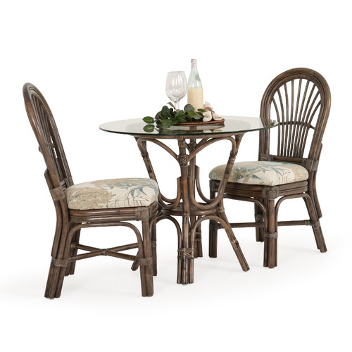 Islamorada Indoor Rattan 3 Piece Bistro Set (Espresso Finish)