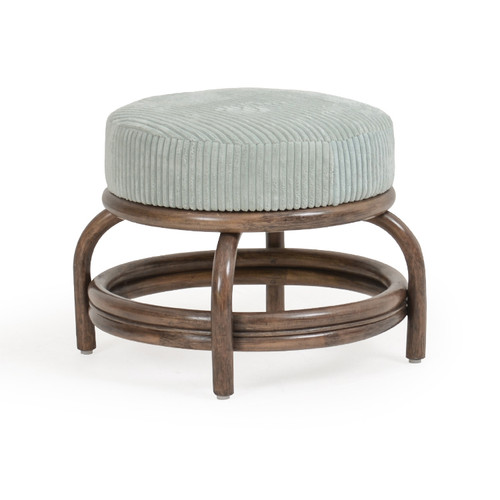 Islamorada Indoor Round Rattan Ottoman with Cushion (Espresso Finish)