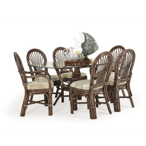 Islamorada Indoor Rattan 7 Piece Dining Set (Staged View)