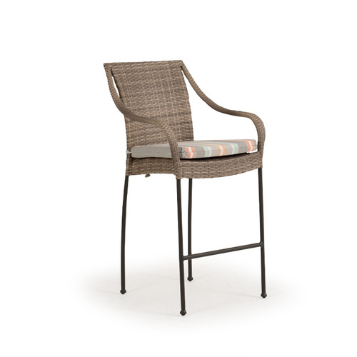 Garden Terrace Outdoor Wicker Bar Height Stool with Optional Cushion