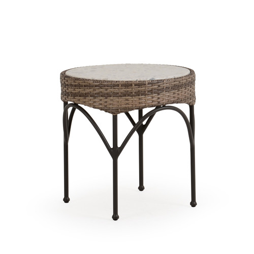 """Garden Terrace Outdoor 21"""" Round Wicker End Table with Stone Top"""