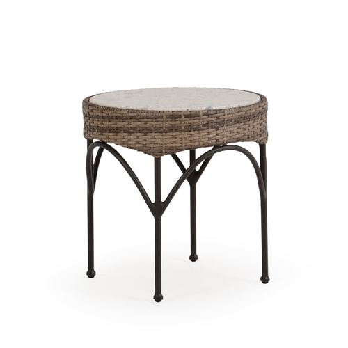 "Garden Terrace Outdoor 21"" Round Wicker End Table with Stone Top"