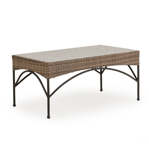 Garden Terrace Outdoor Rectangle Wicker Cocktail Table with Stone Top
