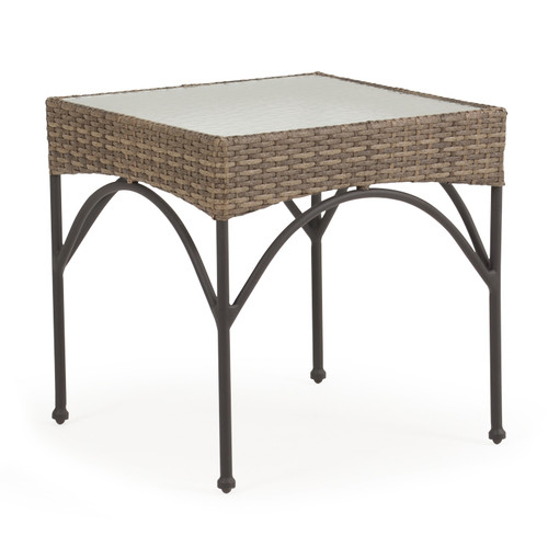 Garden Terrace Outdoor Wicker End Table with Stone Top