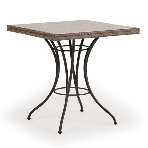 Garden Terrace Outdoor Square Wicker Bistro Table with Stone Top