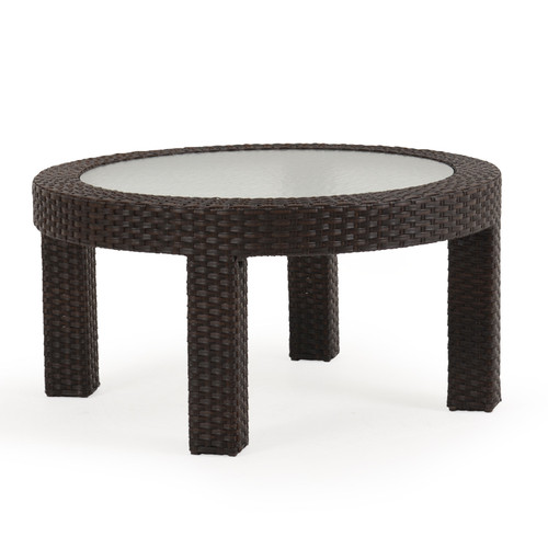 Kokomo Outdoor Wicker Round Cocktail Table with Glass (Tortoise Shell)