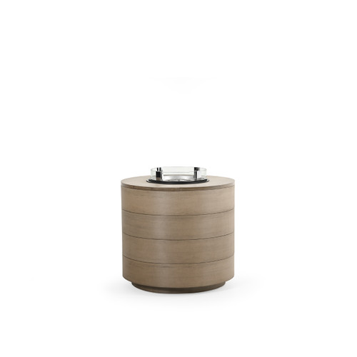 Maui Outdoor PoliSoul™ Round Fire Pit with Wind Guard in Weathered Teak