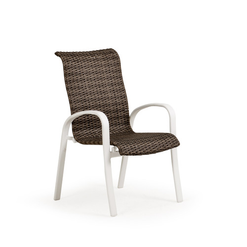 Madeira Woven Dining Chair in Textured White Finish with Peppercorn Weave