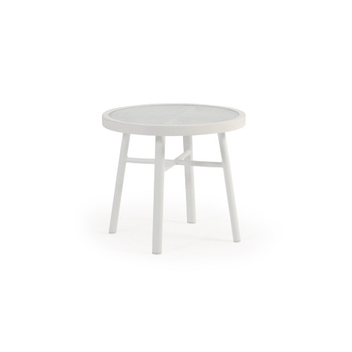 "Madeira Outdoor 20"" Round Aluminum Glass Top Tea Table (Textured White)"