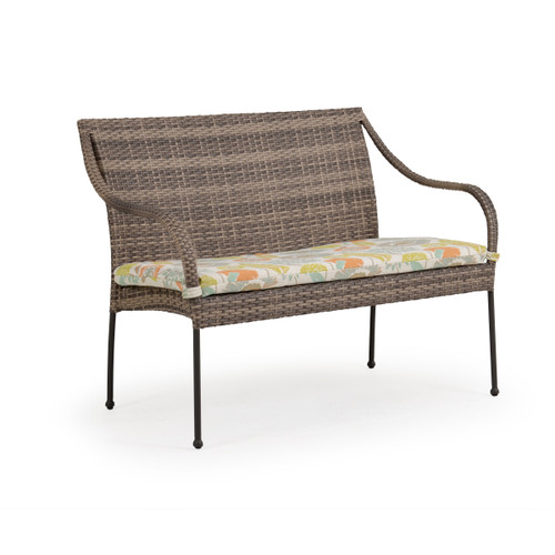 Garden Terrace Outdoor Wicker Bench with Cushion