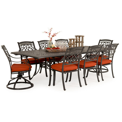 Charleston Outdoor Cast Aluminum 9 Piece Mixed Rectangle Dining Set
