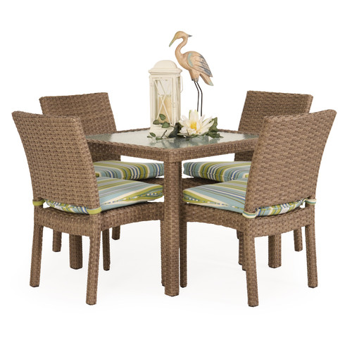 Kokomo Outdoor Stackable Armless 5 Piece Dining Set (Oyster Grey)
