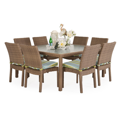 Kokomo Outdoor Stackable Armless 9 Piece Dining Set (Oyster Grey)