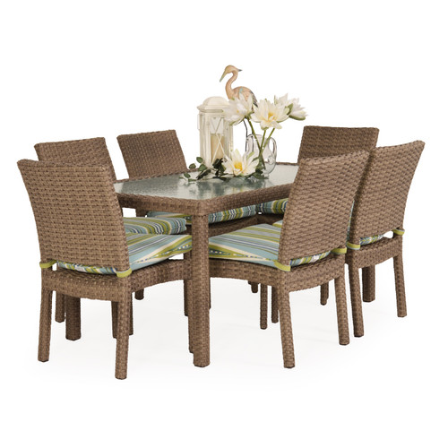 Kokomo Outdoor Wicker Stackable Armless 7 Piece Dining Set (Oyster Grey)