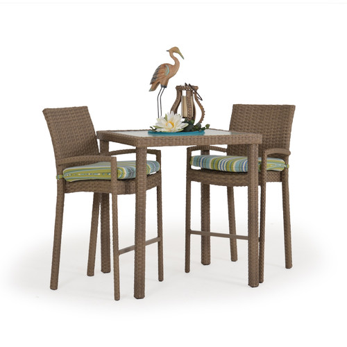 Kokomo Outdoor Wicker 3 Piece Bar Set (Oyster Grey)