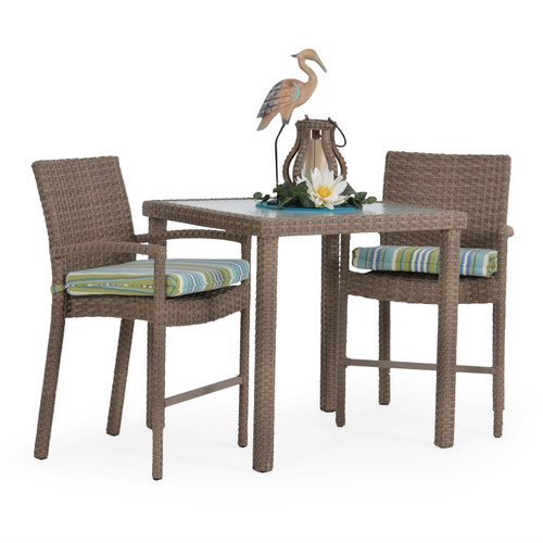 Kokomo Outdoor Wicker 3 Piece Counter Height Set (Oyster Grey)