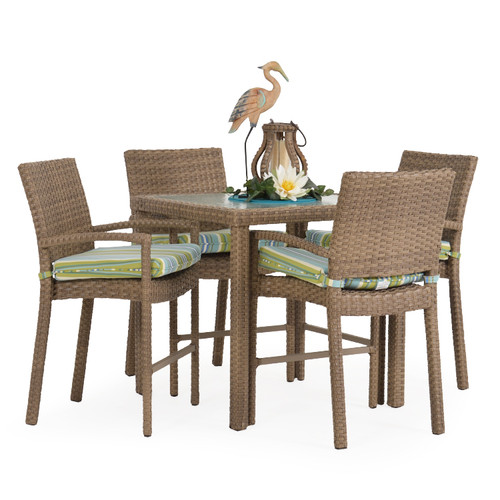 Kokomo Outdoor Wicker 5 Piece Counter Height Set (Oyster Grey)