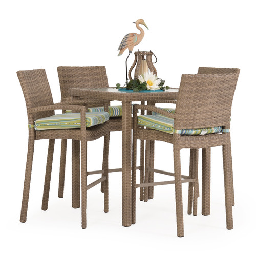 Kokomo Outdoor Wicker 5 Piece Bar Set (Oyster Grey)