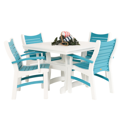 Bayshore Outdoor 5 Piece Poly Lumber White Dining Set with Turquoise Accents