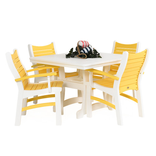 Bayshore Outdoor 5 Piece Poly Lumber White Dining Set with Yellow Accents