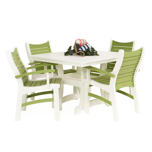 Bayshore Outdoor 5 Piece Poly Lumber White Dining Set with Green Accents