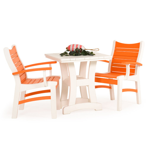 Bayshore Outdoor 3 Piece Poly Lumber White Bistro Dining Set with Orange Accents
