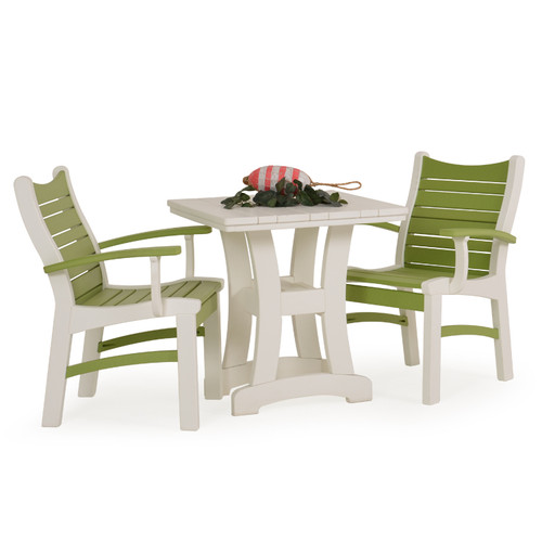 Bayshore Outdoor 3 Piece Poly Lumber White Bistro Dining Set with Green Accents