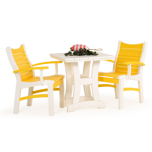 Bayshore Outdoor 3 Piece Poly Lumber White Bistro Dining Set with Yellow Accents