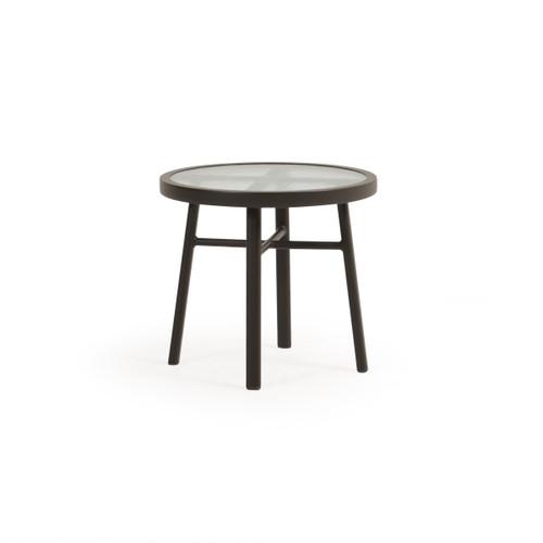 "Madeira Outdoor 20"" Round Aluminum Glass Top Tea Table (Charcoal)"