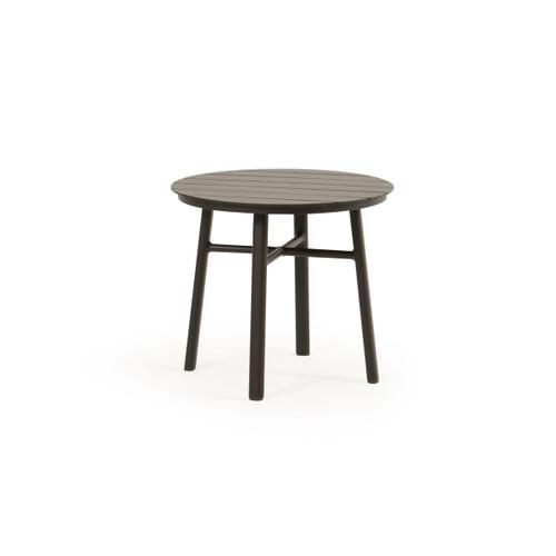"Madeira Outdoor 20"" Round Aluminum Slat Top Tea Table (Charcoal)"