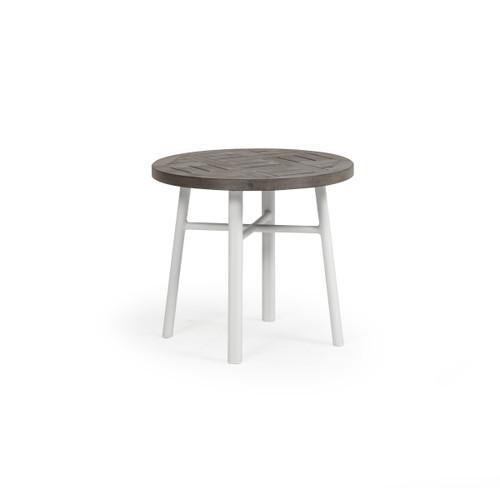 "Madeira Outdoor 20"" Round PoliSoul Top Tea Table (Textured White)"
