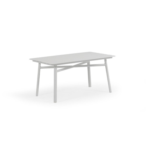 Madeira Outdoor Rectangle Aluminum Slat Top Cocktail Table (Textured White)