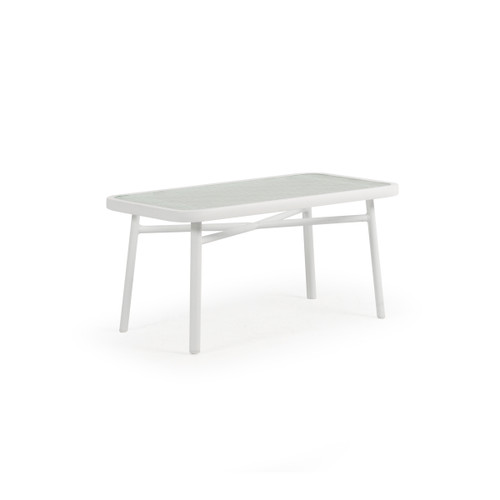 Madeira Outdoor Rectangle Glass Top Cocktail Table (Textured White)