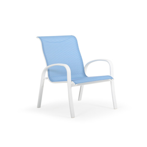 Madeira Outdoor Sling Club Chair in Textured White with Dupione Poolside Sling