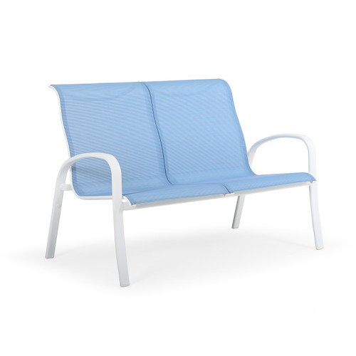 Madeira Outdoor Sling Loveseat in Textured White with Dupione Poolside Sling