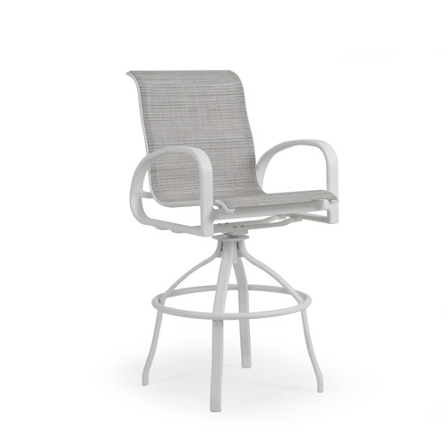 Madeira Outdoor Sling Bar Stool in Textured White with Morning Mist Sling