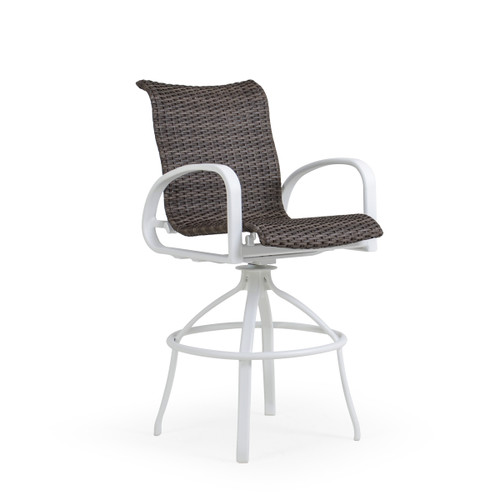Madeira Outdoor Woven Bar Stool in Textured White with Peppercorn Weave
