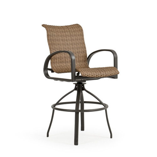 Madeira Outdoor Woven Bar Stool in Charcoal with Nutmeg Weave