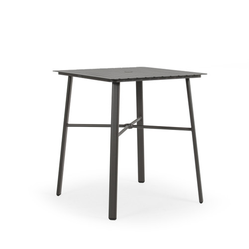 "Madeira Outdoor 36"" Square Aluminum Slat Top Bar Height Table in Charcoal"