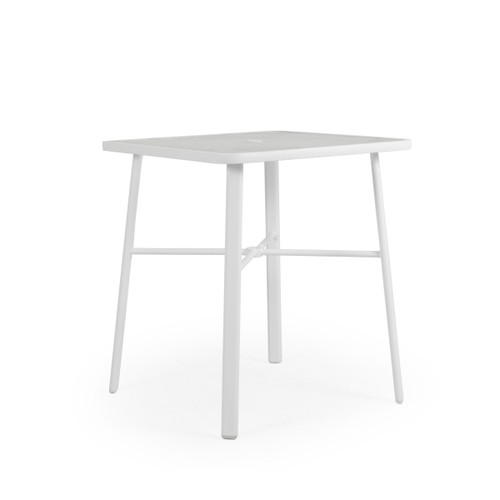 "Madeira Outdoor 36"" Square Glass Top Bar Height Table in Textured White"