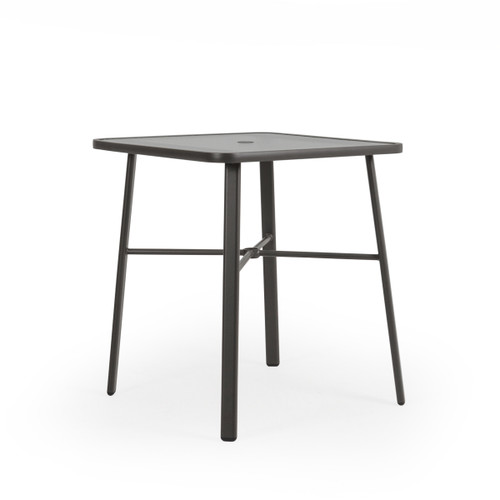 "Madeira Outdoor 36"" Square Glass Top Bar Height Table in Charcoal"