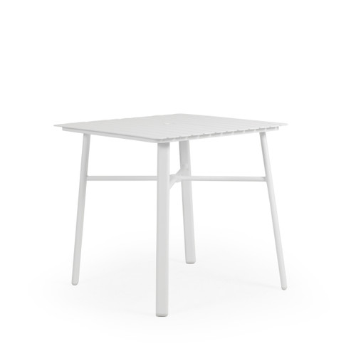 "Madeira Outdoor 36"" Square Aluminum Slat Top Counter Height Table in Textured White"