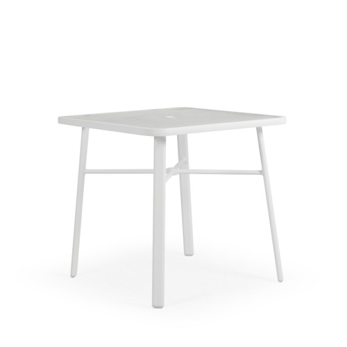 "Madeira Outdoor 36"" Square Glass Top Counter Height Table in Textured White"