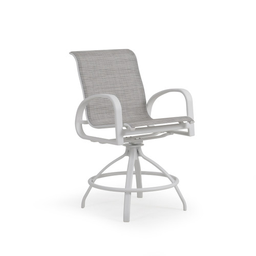 Madeira Outdoor Sling Counter Stool in Textured White with Morning Mist Sling