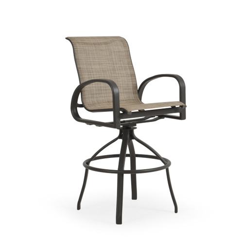 Madeira Outdoor Sling Bar Stool in Charcoal with Sand Dune Sling