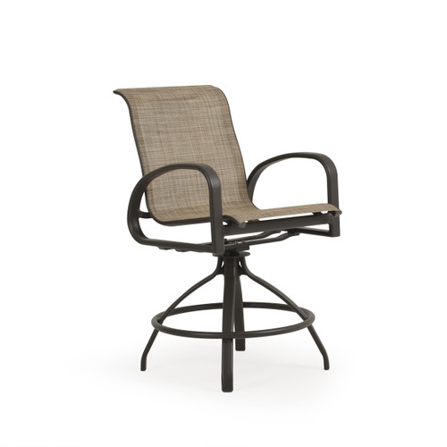 Madeira Outdoor Sling Counter Stool in Charcoal with Sand Dune Sling